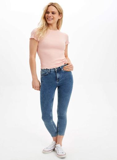 DeFacto Slim Fit Kısa Kollu T-Shirt Pembe